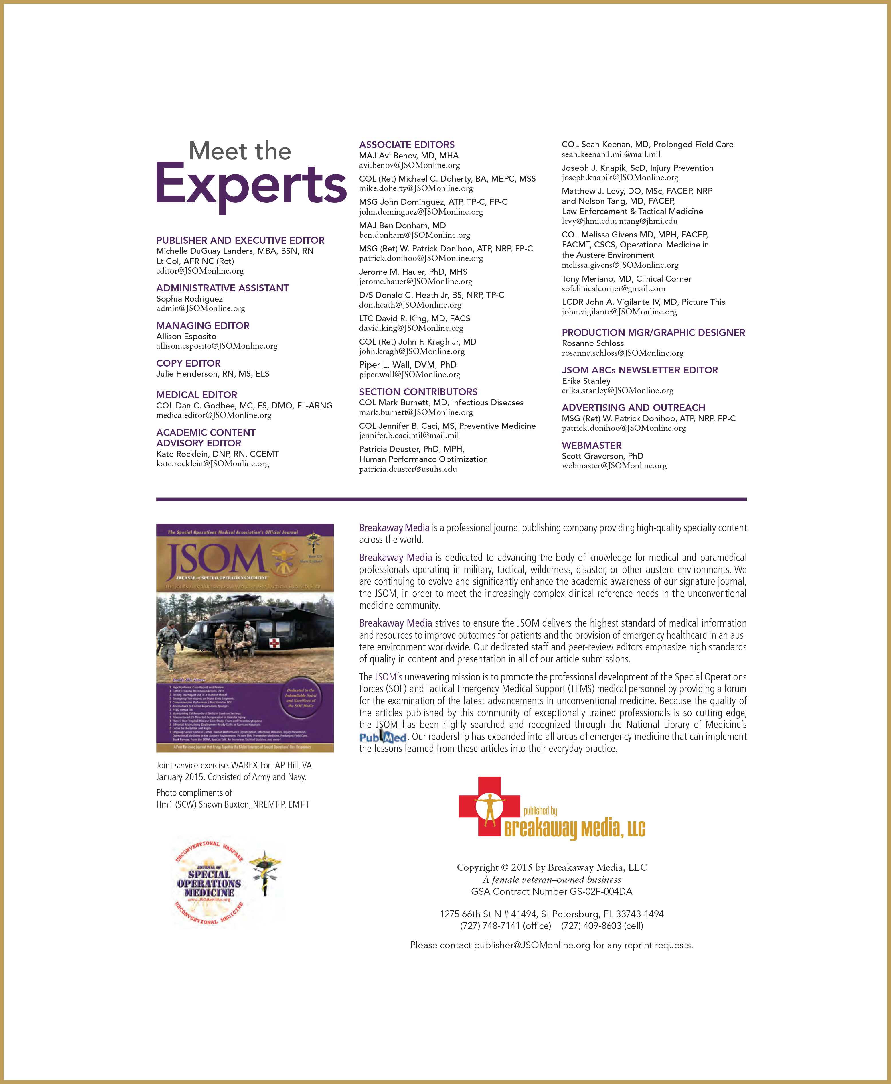 Journal of Special Operations Medicine (JSOM) Interior- Meet The Experts